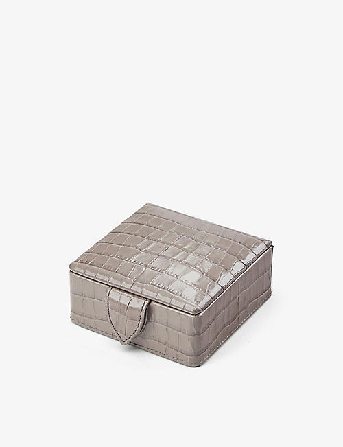 ASPINAL OF LONDON: Crocodile-embossed leather stud box
