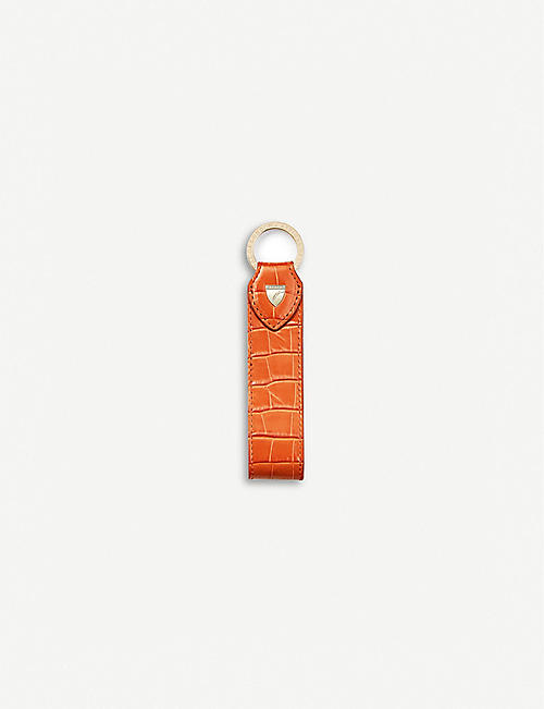 ASPINAL OF LONDON: Looped croc-embossed leather keyring