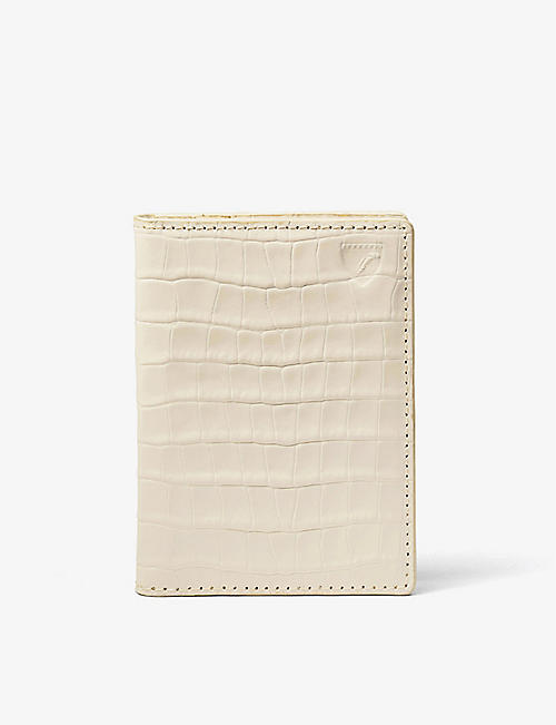 ASPINAL OF LONDON: Double Fold croc-embossed leather card case