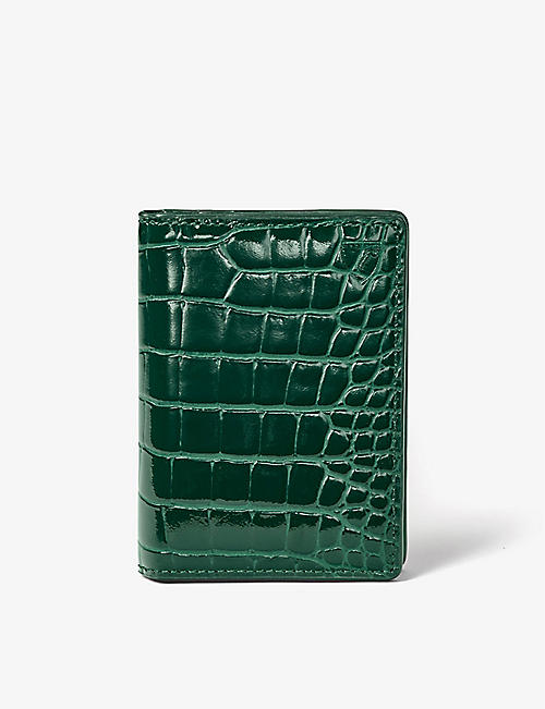 ASPINAL OF LONDON: Double Fold crocodile-embossed leather card holder