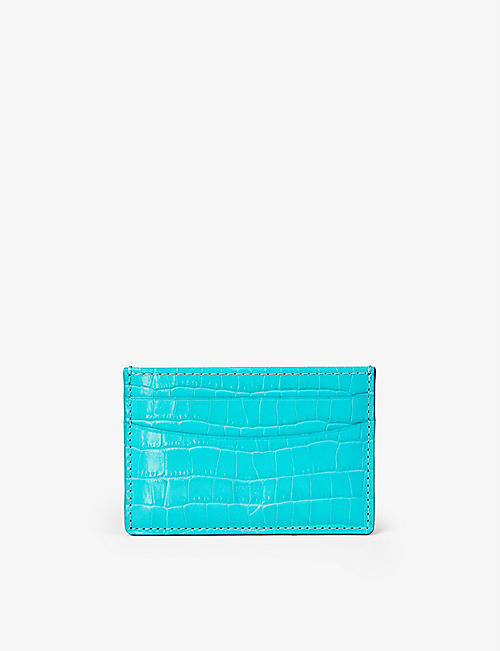 ASPINAL OF LONDON: Slim crocodile-embossed leather credit card case