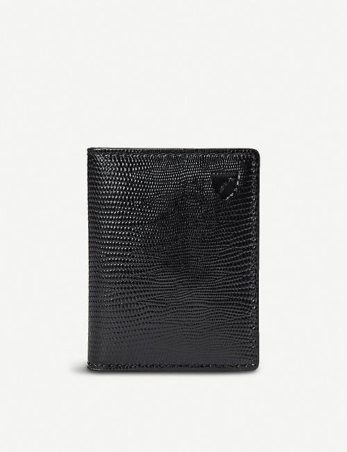 ASPINAL OF LONDON: ID & Travel lizard-print leather card case