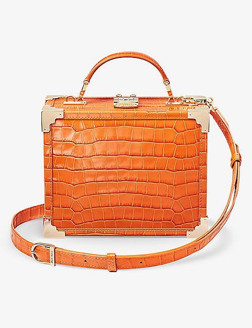 ASPINAL OF LONDON: The Trunk crocodile-embossed leather bag