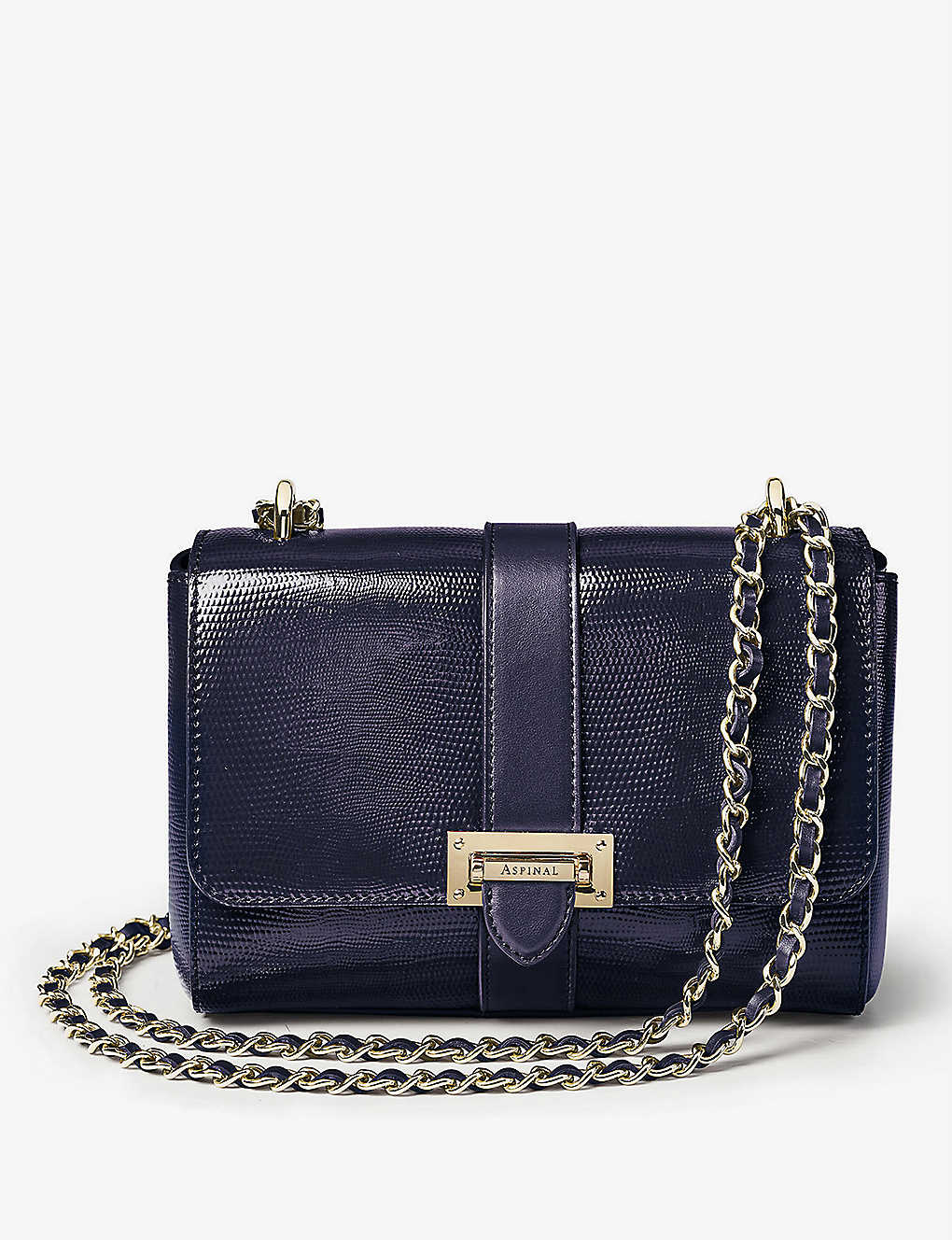 ASPINAL OF LONDON: Lottie small lizard-embossed leather shoulder bag
