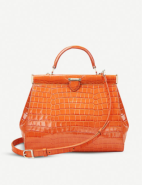 ASPINAL OF LONDON: Florence small croc-embossed leather bag