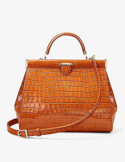 ASPINAL OF LONDON: Florence crocodile-embossed leather tote bag