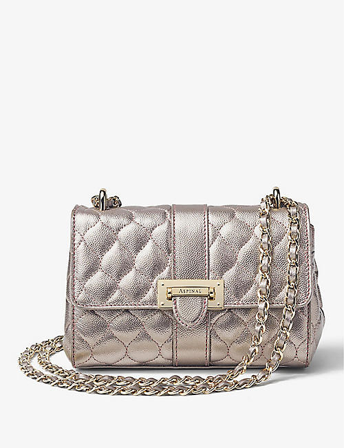 ASPINAL OF LONDON: Lottie metallic leather shoulder bag