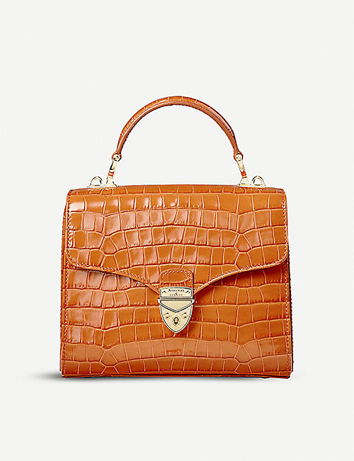 ASPINAL OF LONDON: Mayfair Midi croc-embossed leather bag