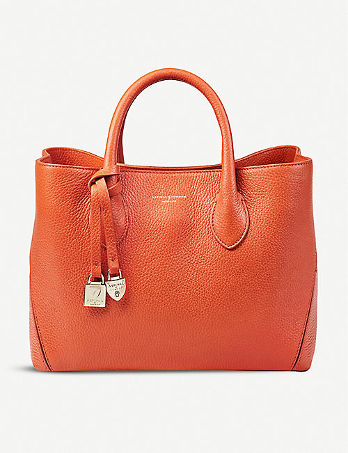 ASPINAL OF LONDON: London Midi pebble leather tote bag
