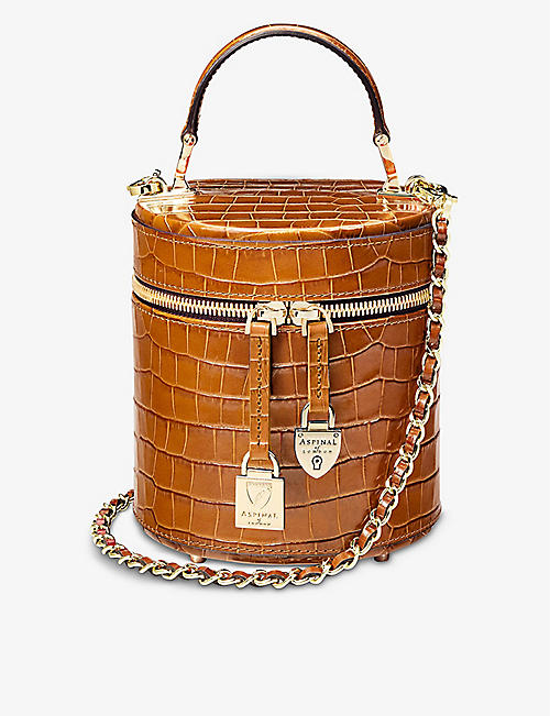 ASPINAL OF LONDON: Pandora crocodile-embossed leather bag