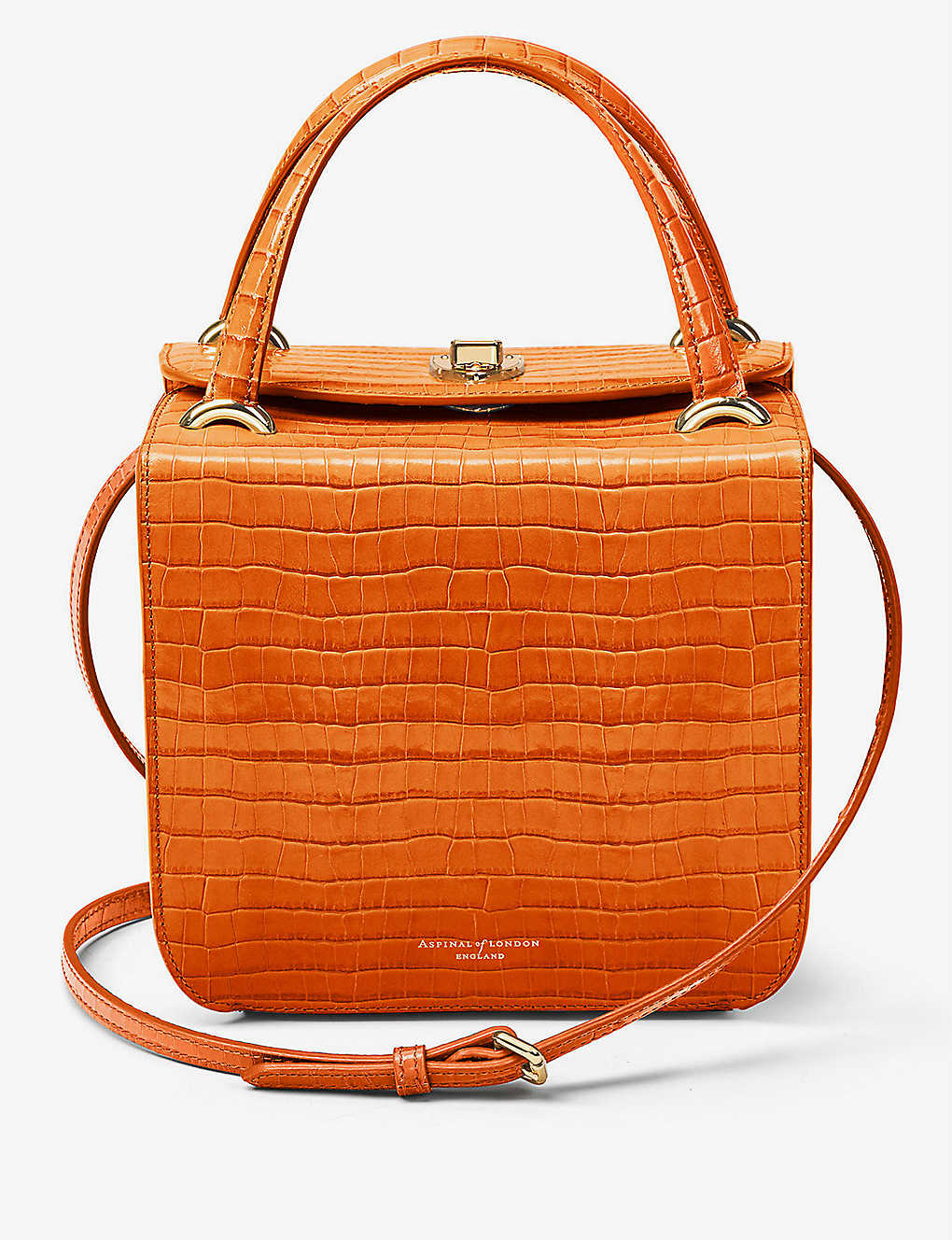 ASPINAL OF LONDON: Gigi crocodile-embossed leather bag