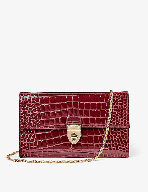 ASPINAL OF LONDON: Mayfair crocodile-embossed leather clutch bag