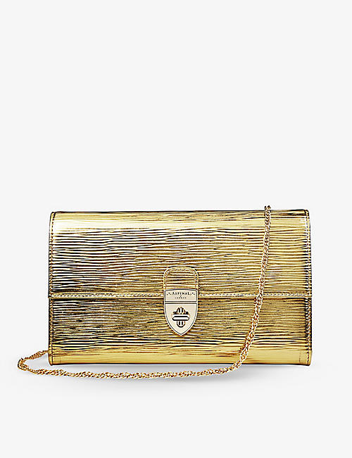 ASPINAL OF LONDON: Mayfair striation-embossed leather clutch bag