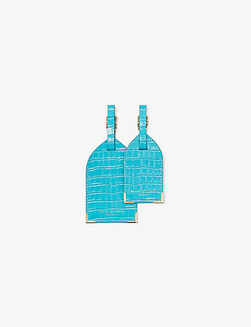 ASPINAL OF LONDON: Croc-embossed leather luggage tags set of two