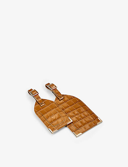 ASPINAL OF LONDON: Logo-embossed leather luggage tags set of two