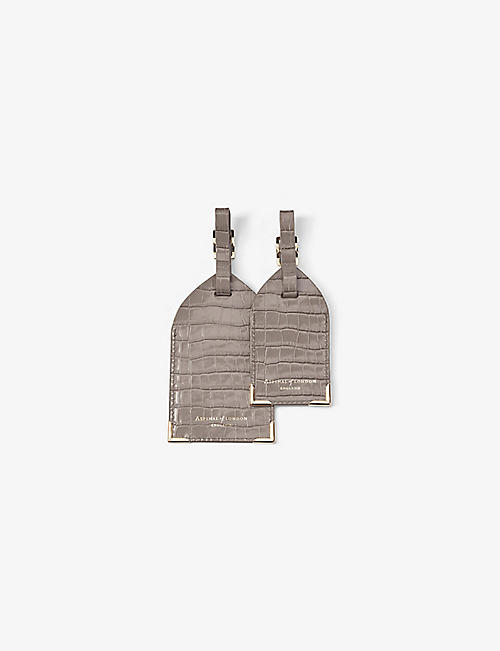 ASPINAL OF LONDON: Crocodile-embossed leather luggage tags set of two