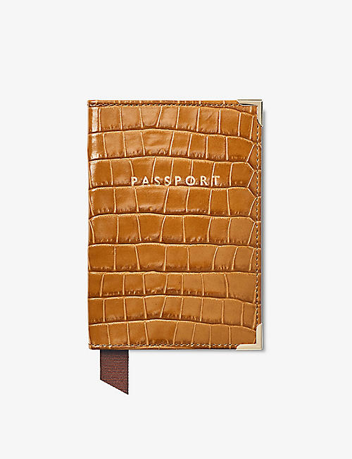 ASPINAL OF LONDON: Plain crocodile-embossed leather passport cover