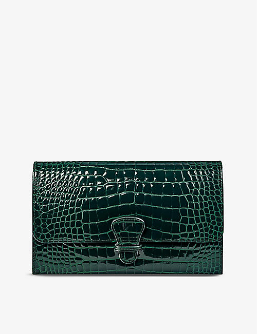 ASPINAL OF LONDON: Classic crocodile-embossed leather travel wallet
