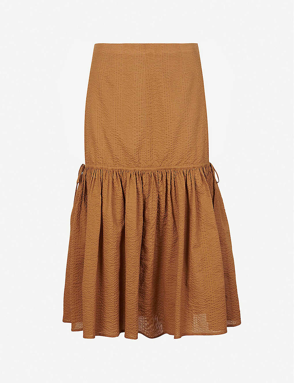 MARYSIA: Seashell drop-waist cotton midi skirt