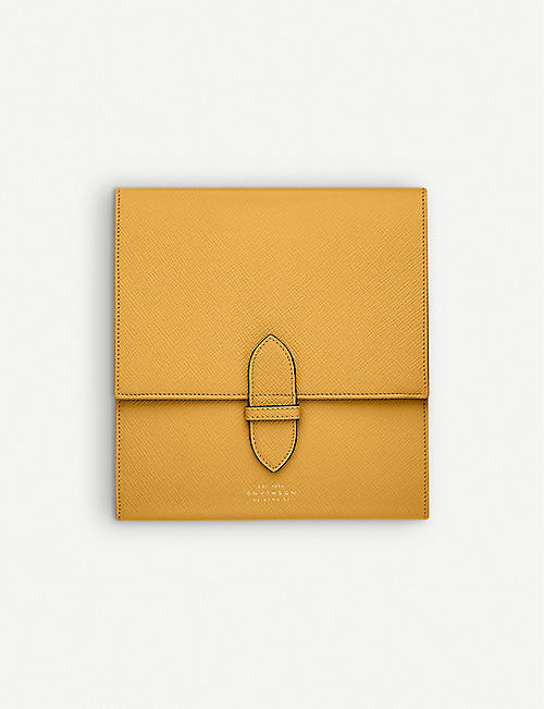 SMYTHSON: Panama leather travel checkers set
