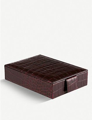 SMYTHSON: Mara croc-embossed leather travel jewellery box