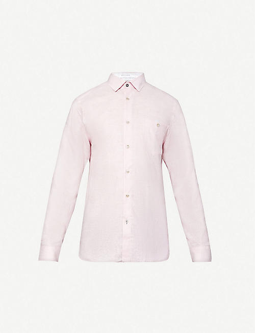 TED BAKER: Long-sleeve linen and cotton-blend shirt