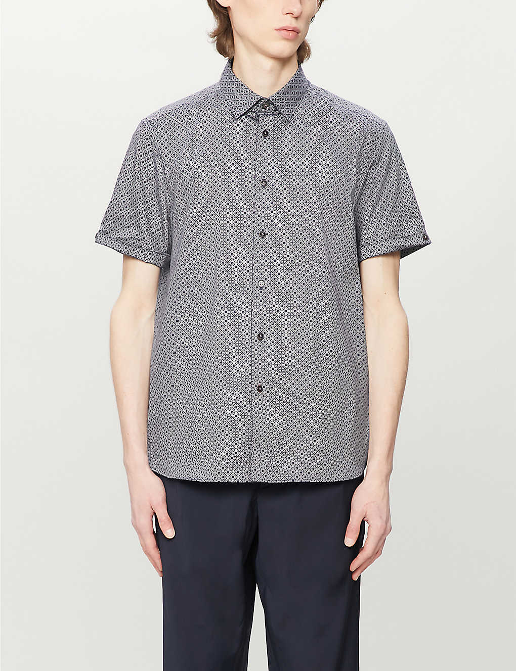TED BAKER: Graphic-print slim-fit stretch-cotton shirt