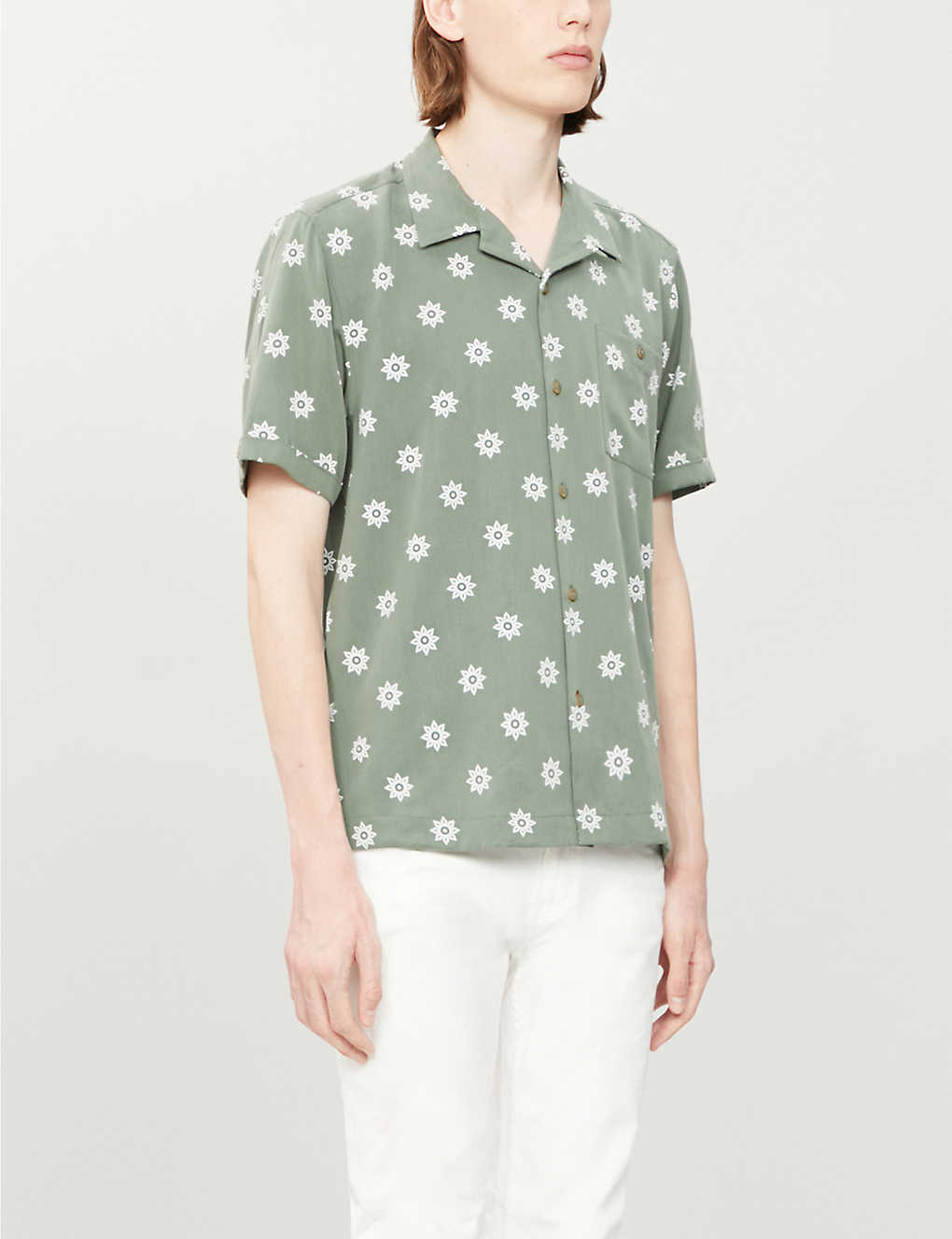 TED BAKER: Floral-print relaxed-fit lyocell shirt