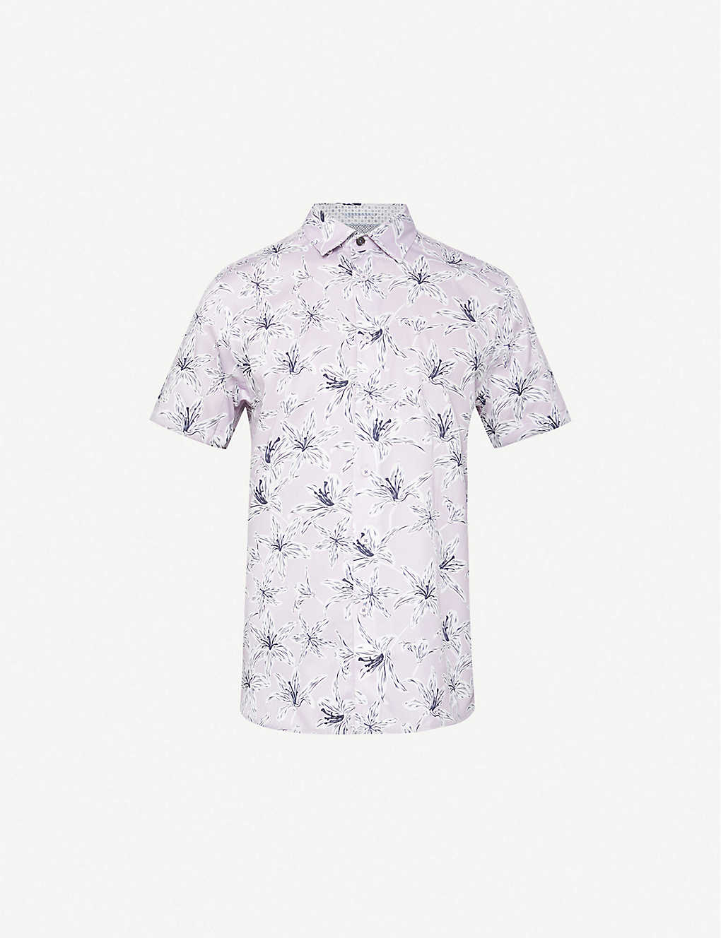 TED BAKER: Floral-print slim-fit stretch-cotton shirt