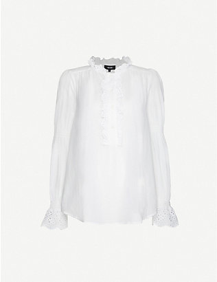ME AND EM: Summer broderie Anglaise-trimmed cotton shirt