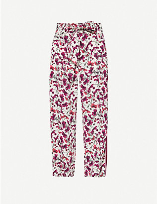 ME AND EM: Floral-print wide-leg high-rise woven trousers