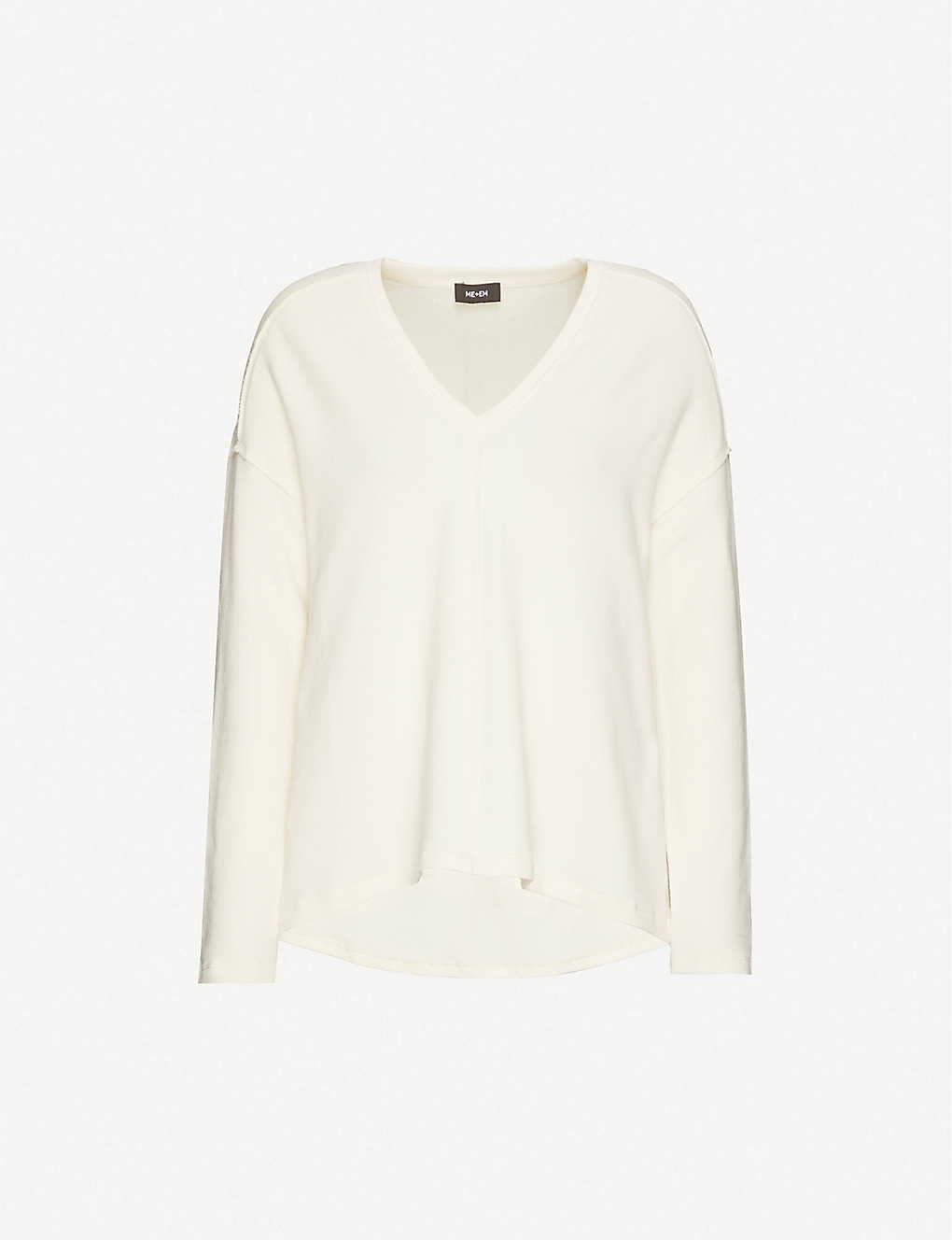 ME AND EM: V-neck stretch-cotton jersey sweatshirt