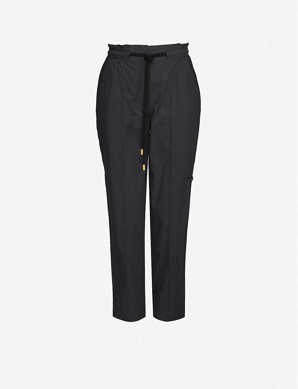 ME AND EM: Tapered high-rise cotton-blend trousers