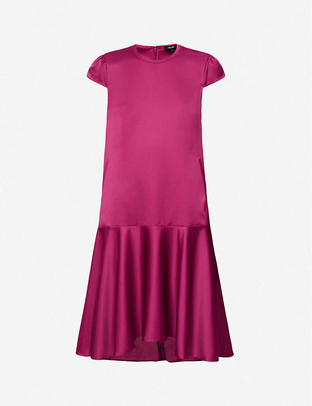 ME AND EM: Sculptural frilled-hem satin mini dress