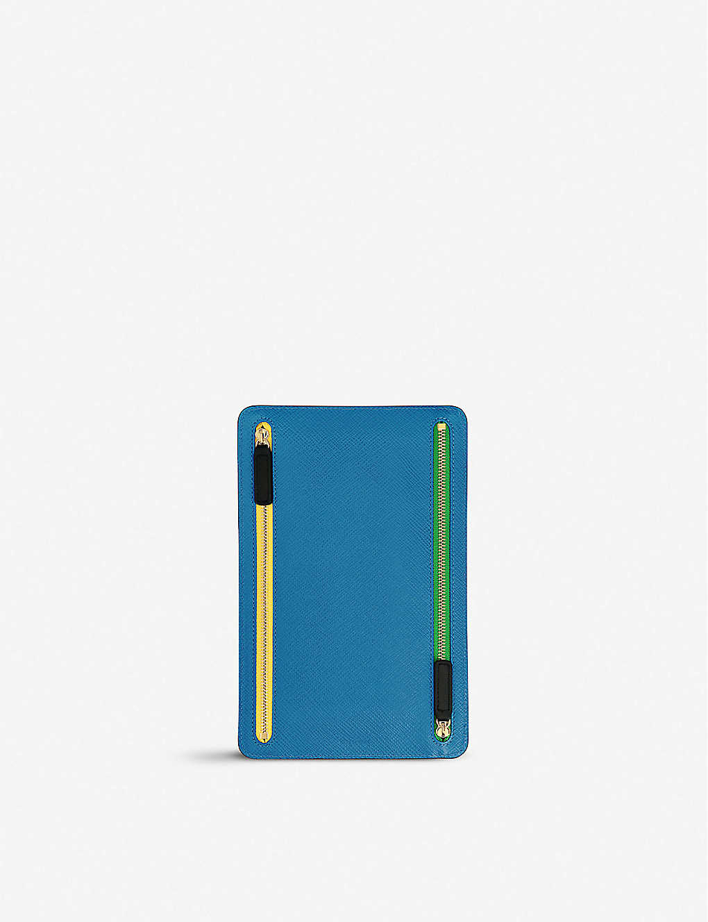 SMYTHSON: Panama cross-grain leather zip currency case