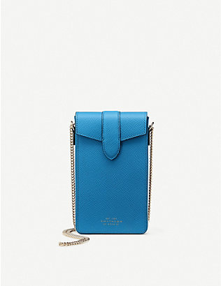 SMYTHSON: Panama chain-detail leather phone case