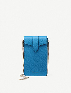 SMYTHSON Panama chain-detail leather phone case
