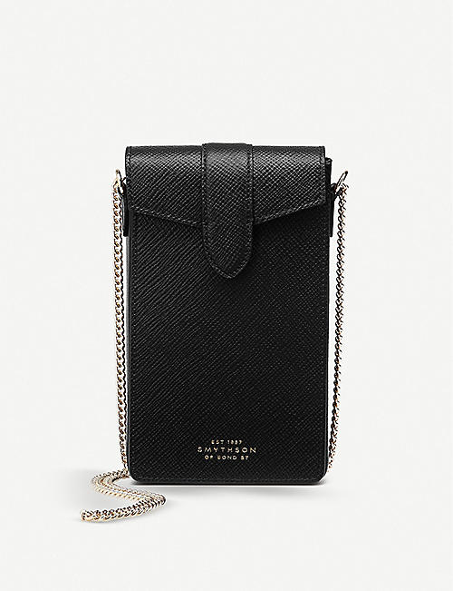 SMYTHSON: Panama leather phone case and chain