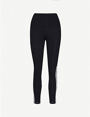 LORNA JANE: Moto Cross logo-print mid-rise stretch-woven leggings