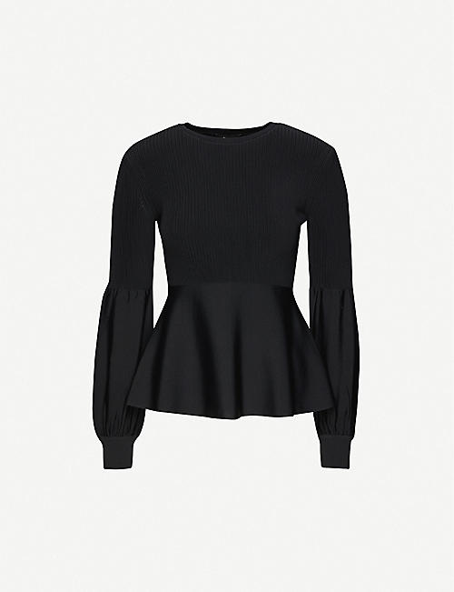 THEORY Ribbed panel stretch-knitted top