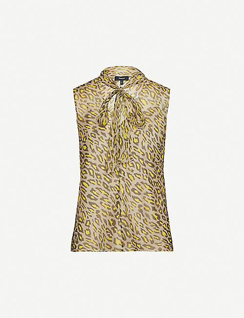 THEORY Leopard-print sleeveless silk-crepe top