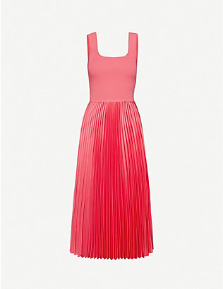 THEORY: Pleated stretch-woven midi dress