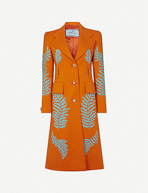 PRADA: Bead-embellished wool coat