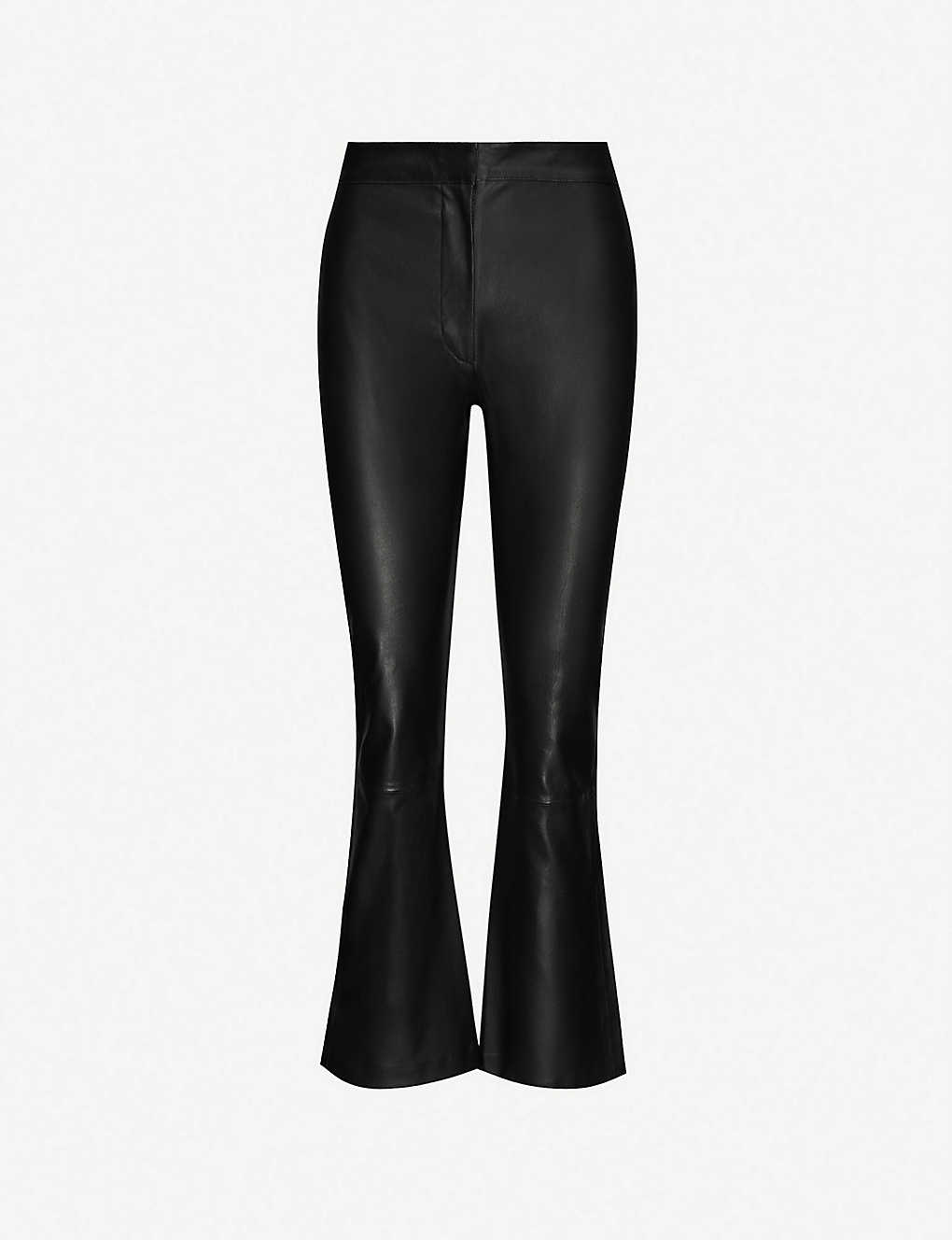 TOPSHOP: Boutique kick-flare leather trousers