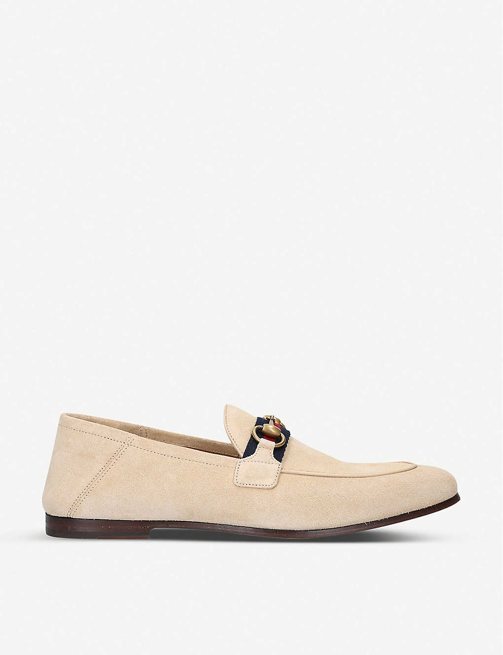 GUCCI: Brixton horsebit suede loafers