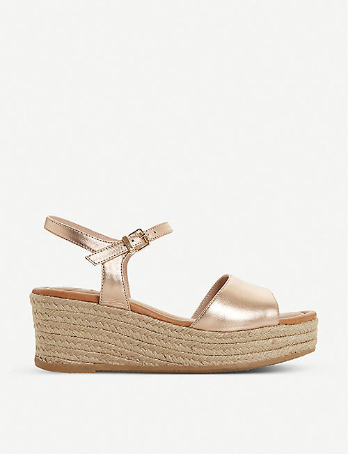 DUNE: Kadi leather espadrille wedge sandals