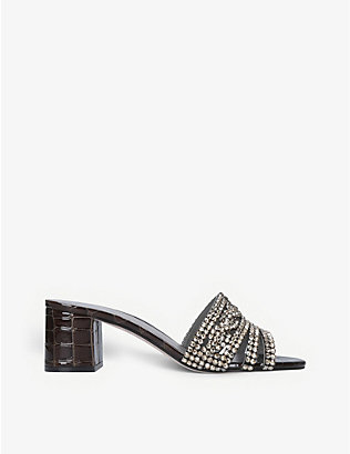 GINA: Visage jewel-embellished leather mules