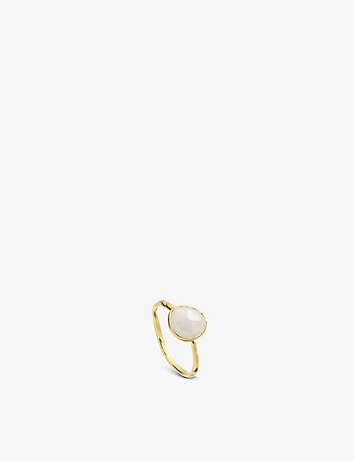 MONICA VINADER: Siren 18ct gold-plated vermeil silver and moonstone ring