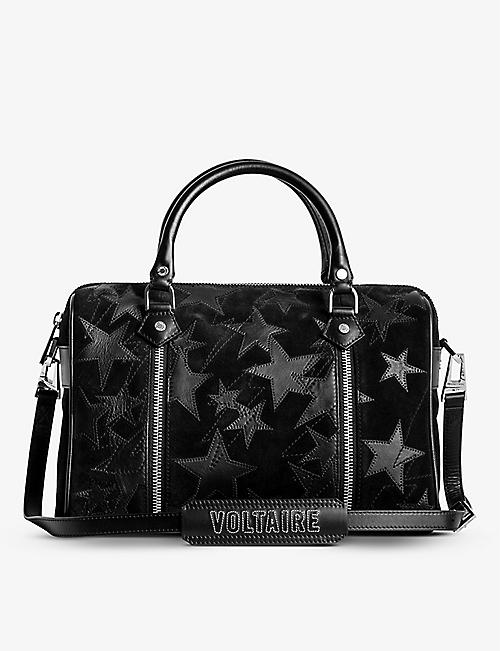 ZADIG&VOLTAIRE: Sunny medium star-embroidered suede bowling bag