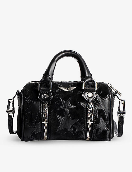 ZADIG&VOLTAIRE: Sunny Nano star-embroidered suede bowling bag